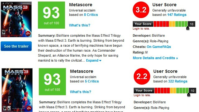 I should have remembered that Mass Effect 3 had glowing reviews too...
